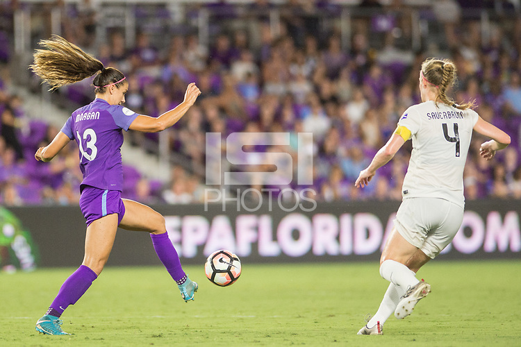 Orlando, FL - Saturday July 15, 2017: Alex Morgan, Becky Sauerbrunn during a regular season National Women's Soccer League (NWSL) match between the Orlando Pride and FC Kansas City at Orlando City Stadium.