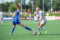 Boston, MA - Saturday June 24, 2017: Julie King and Jaelene Hinkle during a regular season National Women's Soccer League (NWSL) match between the Boston Breakers and the North Carolina Courage at Jordan Field.