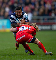 Bristol Bears' Alapati Leiua is tackled by Sale Sharks' Faf de Klerk<br /> <br /> Photographer Bob Bradford/CameraSport<br /> <br /> Gallagher Premiership - Bristol Bears v Sale Sharks - Friday 3rd May 2019 - Ashton Gate - Bristol<br /> <br /> World Copyright © 2019 CameraSport. All rights reserved. 43 Linden Ave. Countesthorpe. Leicester. England. LE8 5PG - Tel: +44 (0) 116 277 4147 - admin@camerasport.com - www.camerasport.com