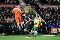 Wilfredo Caballero of Chelsea comes out his area to head the aerial ball during Norwich City vs Chelsea, Emirates FA Cup Football at Carrow Road on 6th January 2018