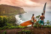 USA, Hawaii, The Big Island, paddle boarders scope out the Waipio Valley surf conditions