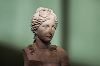 Female head sculpture in the boiler room. Centrale Montemartini. Rome, Italy. Mar. 07, 2015