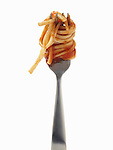 Spaghetti sauce, pasta, bite on fork