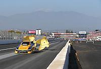 Feb 13, 2016; Pomona, CA, USA; NHRA funny car driver Del Worsham during the Winternationals at Auto Club Raceway at Pomona. Mandatory Credit: Mark J. Rebilas-USA TODAY Sports