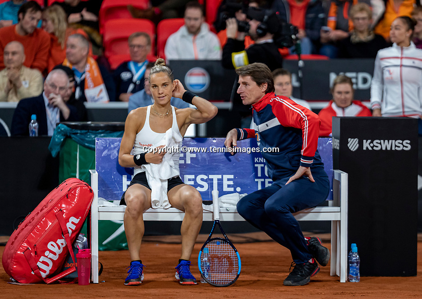 The Hague, The Netherlands, Februari 7, 2020,    Sportcampus, FedCup  Netherlands -  Balarus, Seccond match on friday:  Aranxta Rus (NED) on the bench with captain Paul Haarhuis.<br /> Photo: Tennisimages/Henk Koster