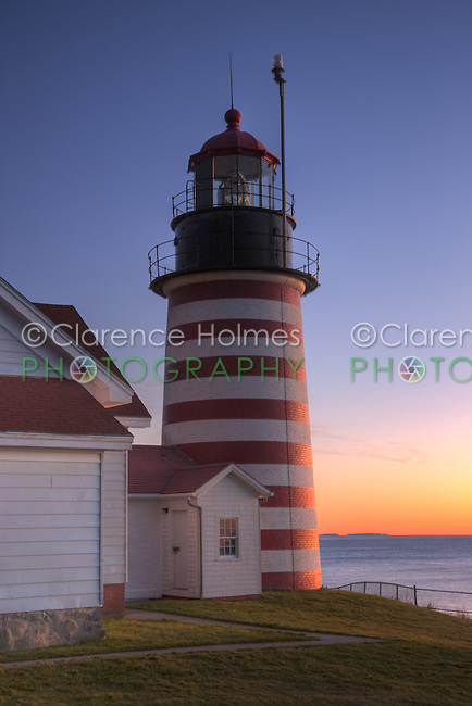 West Quoddy Head Light in Lubec, Maine in pre-dawn light