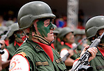 A Venezuelan reserve troop soldier march during a military parade in Caracas, Venezuela, on Wednesday, Jul. 05, 2006. The military parade was to celebrate the 195th anniversary of the Venezuelan Independence from Spain. (ALTERPHOTOS/Alvaro Hernandez)