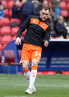 Blackpool's Harry Pritchard during the pre-match warm-up <br /> <br /> Photographer David Shipman/CameraSport<br /> <br /> The EFL Sky Bet League One - Charlton Athletic v Blackpool - Saturday 16th February 2019 - The Valley - London<br /> <br /> World Copyright © 2019 CameraSport. All rights reserved. 43 Linden Ave. Countesthorpe. Leicester. England. LE8 5PG - Tel: +44 (0) 116 277 4147 - admin@camerasport.com - www.camerasport.com