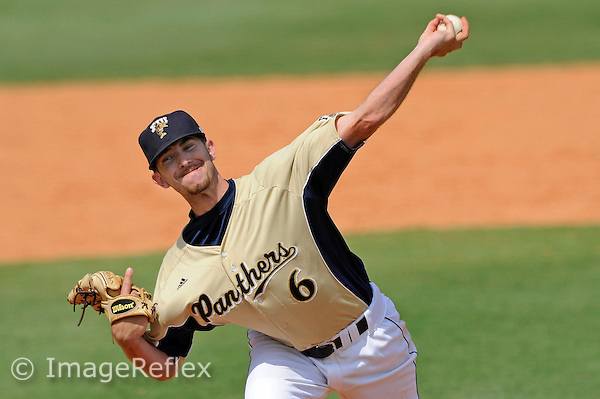 5 April 2009:  FIU starting pitcher Corey Polizzano (6) throws in the sixth inning of the FIU 12-9 victory over Western Kentucky at University Park Stadium in Miami, Florida.  Polizzano earned the win, going seven innings and giving up just five runs.