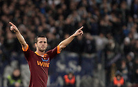 Calcio, Serie A: Lazio vs Roma. Roma, stadio Olimpico, 11 novembre 2012..AS Roma midfielder Miralem Pjanic, of Bosnia, greets fans after scoring during the Italian Serie A football match between Lazio and AS Roma, at Rome's Olympic stadium, 11 November 2012..UPDATE IMAGES PRESS/Riccardo De Luca