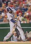 23 July 2016: San Diego Padres outfielder Matt Kemp in action against the Washington Nationals at Nationals Park in Washington, DC. The Nationals defeated the Padres 3-2 to tie their series at one game apiece. Mandatory Credit: Ed Wolfstein Photo *** RAW (NEF) Image File Available ***
