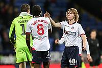 Bolton Wanderers' Luca Connell shakes hands with team mate Clayton Donaldson at the end of the match<br /> <br /> Photographer Andrew Kearns/CameraSport<br /> <br /> Emirates FA Cup Third Round - Bolton Wanderers v Walsall - Saturday 5th January 2019 - University of Bolton Stadium - Bolton<br />  <br /> World Copyright &copy; 2019 CameraSport. All rights reserved. 43 Linden Ave. Countesthorpe. Leicester. England. LE8 5PG - Tel: +44 (0) 116 277 4147 - admin@camerasport.com - www.camerasport.com