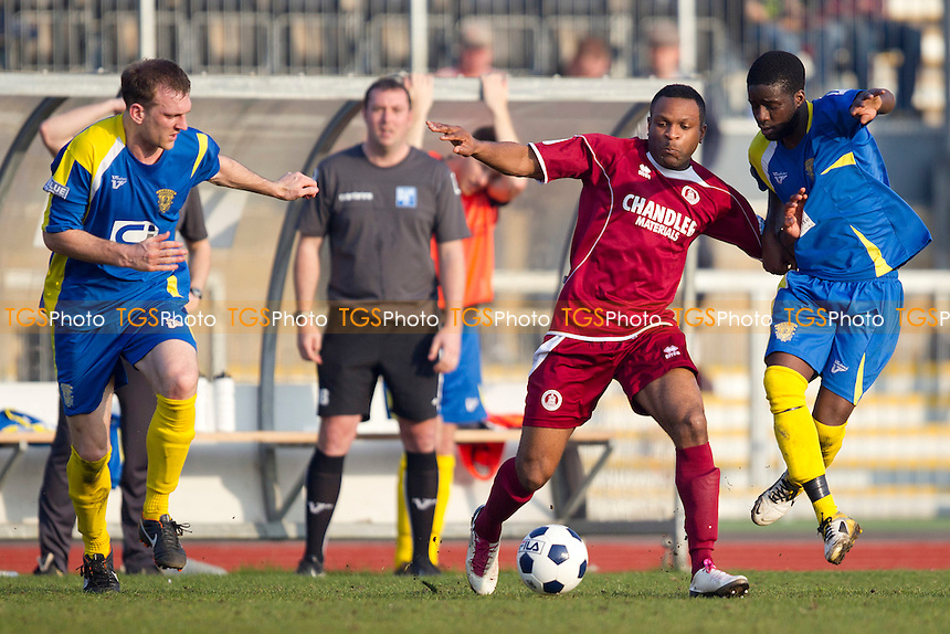 Kezie Ibe of Chelmsford City under pressure from Jide Ogunbote of Basingstoke Town - Chelmsford City vs Basingstoke Town - Blue Square Conference South Football at Melbourne Park Stadium, Chelmsford - 24/03/12 - MANDATORY CREDIT: Ray Lawrence/TGSPHOTO - Self billing applies where appropriate - 0845 094 6026 - contact@tgsphoto.co.uk - NO UNPAID USE.