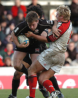 2005/06, Heineken Cup, 4th Rd,Flanker Ben T Russell, supported by Tevita Vaikona, try to break through Roger Wilson's Tackle. Saracens vs Ulster, Vicarage Road, ENGLAND   © Peter Spurrier/Intersport Images - email images@intersport-images..