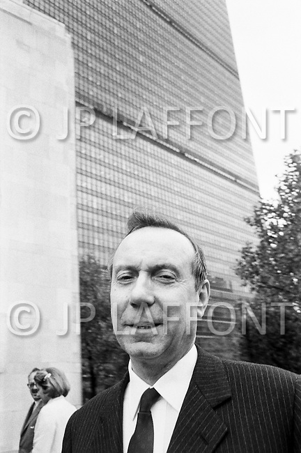 13 Oct 1968, New York, New York, USA --- French politician Michel Debre in front of the UN Headquarters in New York City. --- Image by © JP Laffont