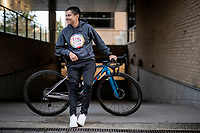 Esteban Chaves (COL/Mitchelton-Scott) presents his custom SCOTT Addict RC; a bike with a story to tell about the rider himself and a colour scheme that refers to the Esteban Chaves Foundation <br /> <br /> ©kramon