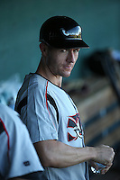Lake Elsinore Storm Manager Michael Collins (18) in the dugout before a game against the Lancaster JetHawks at The Hanger on August 29, 2015 in Lancaster, California. Lancaster defeated Lake Elsinore 7-4. (Larry Goren/Four Seam Images)