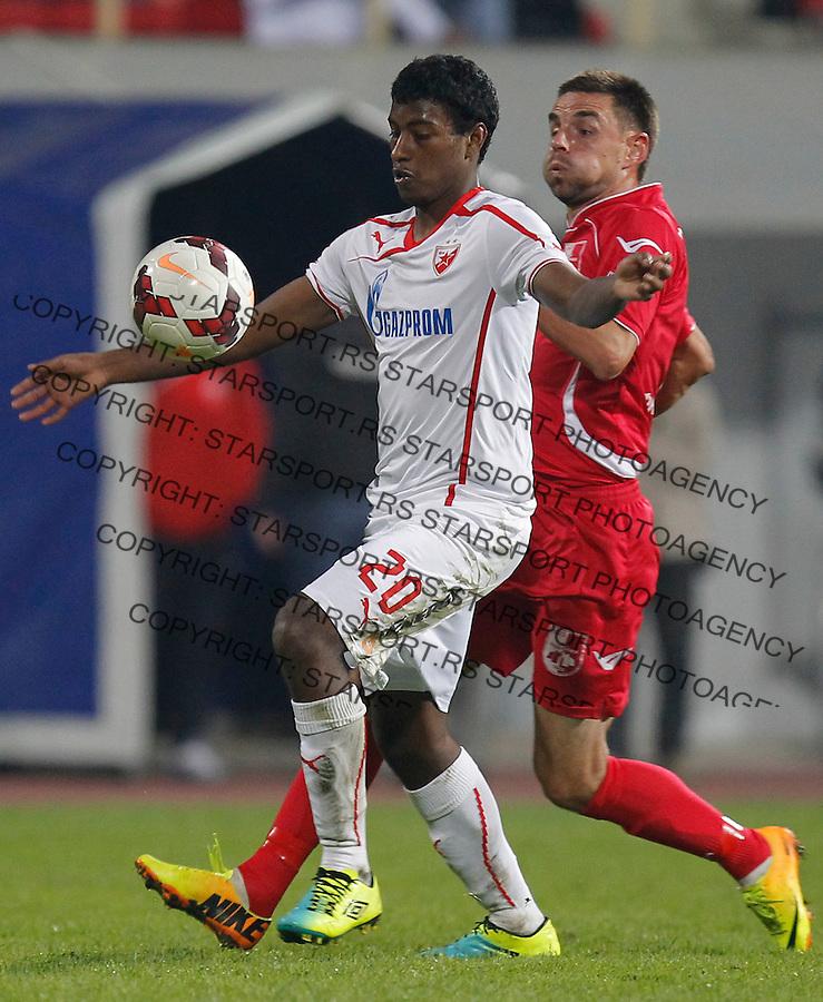 Fudbal Super liga season 2013-2014<br /> Radnicki Nis v Crvena Zvezda<br /> Miguel Araujo (L)<br /> Nis, 26.10.2013.<br /> foto: Srdjan Stevanovic/Starsportphoto &copy;