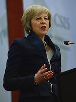 Washington, DC - February 16, 2016: The Honorable Theresa May, UK Home Secretary, speaks about the UK's effort to address the challenges of counter-terrorism during a discussion at the Center for Strategic and International Studies in the District of Columbia. (Photo by Don Baxter/Media Images International)