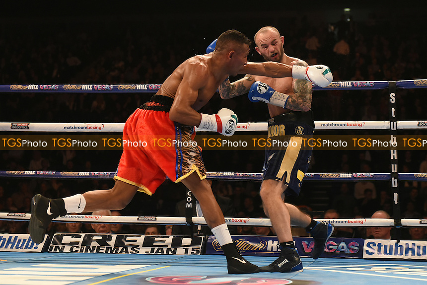 Kevin Mitchell loses to Ismael Barroso (red shorts) in a fight for the interim WBA World Lightweight Title at the O2 Arena, London
