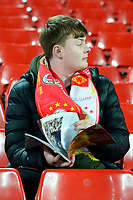 A Liverpool fan looks on prior to the match<br /> <br /> Photographer Richard Martin-Roberts/CameraSport<br /> <br /> UEFA Champions League Group C - Liverpool v Crvena Zvezda - Wednesday 24th October 2018 - Anfield - Liverpool<br />  <br /> World Copyright © 2018 CameraSport. All rights reserved. 43 Linden Ave. Countesthorpe. Leicester. England. LE8 5PG - Tel: +44 (0) 116 277 4147 - admin@camerasport.com - www.camerasport.com