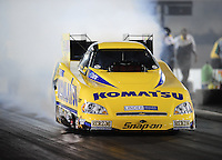 Sept. 17, 2010; Concord, NC, USA; NHRA funny car driver Tony Pedregon does a burnout during qualifying for the O'Reilly Auto Parts NHRA Nationals at zMax Dragway. Mandatory Credit: Mark J. Rebilas/