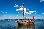 Connecticut River at Maritime Museum. Onrust, a replica of Adriaen Block's vessel- one of the first western style ships built in the New World, and the first ever to sail up the Connecticut River.