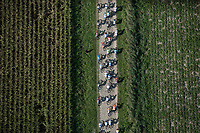top view of peloton riding the cobbles. <br /> <br /> Antwerp Port Epic 2018 (formerly &quot;Schaal Sels&quot;)<br /> One Day Race: Antwerp &gt; Antwerp (207km of which 32km are cobbles &amp; 30km is gravel/off-road!)