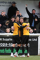 Maidstone's Jack Powell and Blair Turgott congratulate Jake Embery (middle) after scoring their opening goal during Maidstone United vs Havant and Waterlooville, Vanarama National League Football at the Gallagher Stadium on 9th March 2019