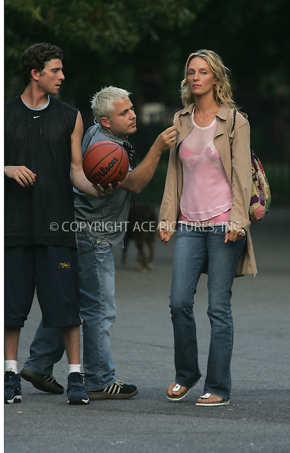 ***EXCLUSIVE*** Uma Thurman plays an intimate scene with her co-star Bryan Greenberg in Ben Younger's movie 'Prime'. In the movie Greenberg, who plays the son of Thurman's Therapist (Meryl Streep), has an affair with Thurman. New York City. September 17 2004. Please byline: ACEPIXS.COM..*PAY-PER-USE*....IMPORTANT: Please note that our old trade name New York Photo Press has changed to ACE Pictures. New York Photo Press and ACE Pictures are both owned by All Celebrity Entertainment, Inc.......All Celebrity Entertainment, Inc..Contact: Alecsey Boldeskul, (646) 267 6913..Philip vaughan, (646) 769 0430..e-mail: info@acepixs.com..Philip.Vaughan@acepixs.com