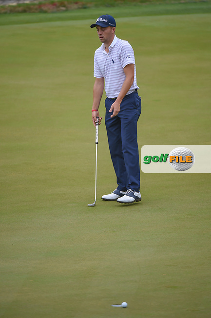 Justin Thomas (USA) barely misses his putt on 2 during day 5 of the World Golf Championships, Dell Match Play, Austin Country Club, Austin, Texas. 3/25/2018.<br /> Picture: Golffile | Ken Murray<br /> <br /> <br /> All photo usage must carry mandatory copyright credit (© Golffile | Ken Murray)