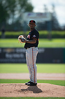 San Jose Giants starting pitcher Jose Marte (40) during a California League game against the Stockton Ports on April 9, 2019 in Stockton, California. San Jose defeated Stockton 4-3. (Zachary Lucy/Four Seam Images)