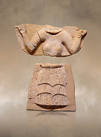 Minoan Postpalatial terracotta  goddess tablet with raised arms, Kannia Sanctuary,  Gortys, 1350-1250 BC, Heraklion Archaeological Museum. <br /> <br /> The Goddesses are crowned with symbols of earth and sky in the shapes of snakes and birds, describing attributes of the goddess as protector of nature.