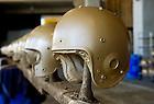 Helmet painting before the Michigan game, 2010...Photo by Matt Cashore/University of Notre Dame