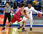 BROOKINGS, SD - JANUARY 13: Tevin King #2 from South Dakota State University looks to make a move against Elvin Rodriguez #3 from Denver during their game Saturday afternoon at Frost Arena in Brookings, SD.  (Photo by Dave Eggen/Inertia)