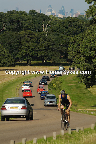 London Skyline Richmond Upon Thames, Surrey, England  Weekend traffic in Richmond Park.