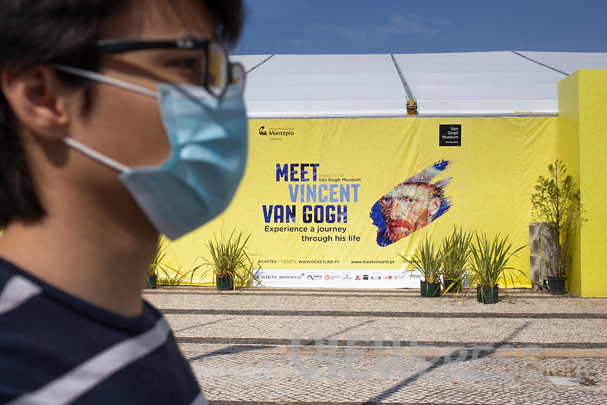 """LISBON, PORTUGAL - MAY 31: A visitor wearing a face mask attends the """"Meet VicentVanGogh"""" exhibition as the spread of the (COVID-19) continues in Lisbon, on May 31, 2020. <br /> Meet Vincent van Gogh is an interactive experience, to get to know Lisbon, through which it proposes to make Vincent's art accessible to as many people as possible.<br /> (Photo by Luis Boza/VIEWpress via Getty Images)"""
