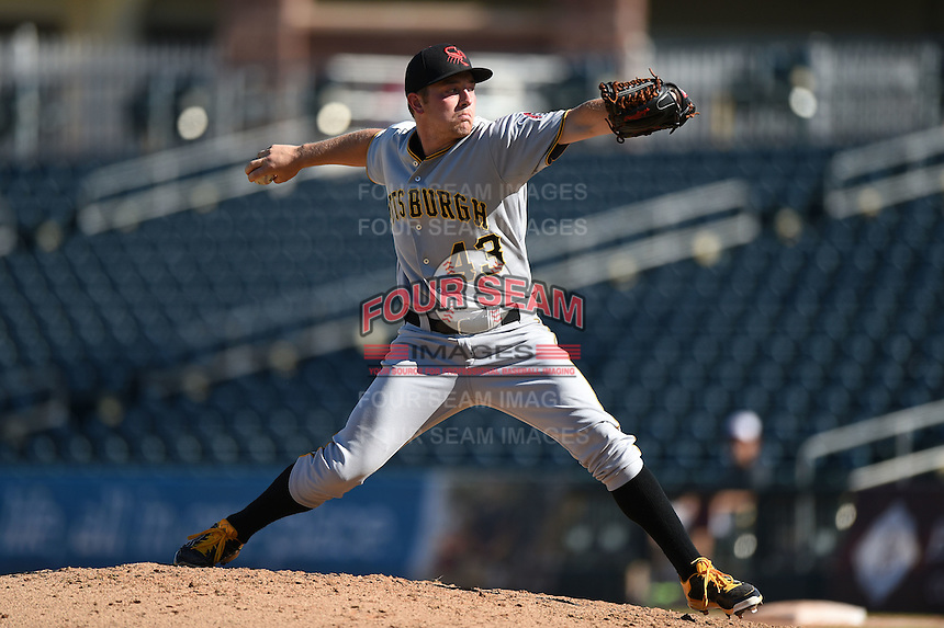 Scottsdale Scorpions pitcher Adrian Sampson (43) during an Arizona Fall League game against the Surprise Saguaros on October 11, 2014 at Surprise Stadium in Surprise, Arizona.  Scottsdale defeated Surprise 7-6.  (Mike Janes/Four Seam Images)