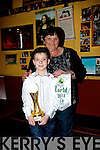 Tina Cunningham with Ciaran Keogh (Dublin) after he won the U11 title in An Comhdhail World Irish Dance Championships in the INEC last weekend,