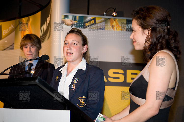 Stacey Morrison interviews Sportswoman of the Year Annalie Longo. ASB College Sport Young Sportperson of the Year Awards 2007 held at Eden Park on November 15th, 2007.