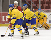 Sebastian Karlsson (Frolunda HC), Steve Zalewski (Clarkson University - San Jose Sharks), Tobias Viklund (MODO Hockey) (Magnus Akerlund)  The US Blue team lost to Sweden 3-2 in a shootout as part of the 2005 Summer Hockey Challenge at the National Junior (U-20) Evaluation Camp in the 1980 rink at Lake Placid, NY on Saturday, August 13, 2005.
