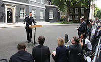 PH: Rick Findler..10.08.11 Prime Minister David Cameron makes a statement to the media after chairing the Governments second emergency Cobra meeting. The Prime Minister has pledged to give the police whatever they need to combat the rioting.
