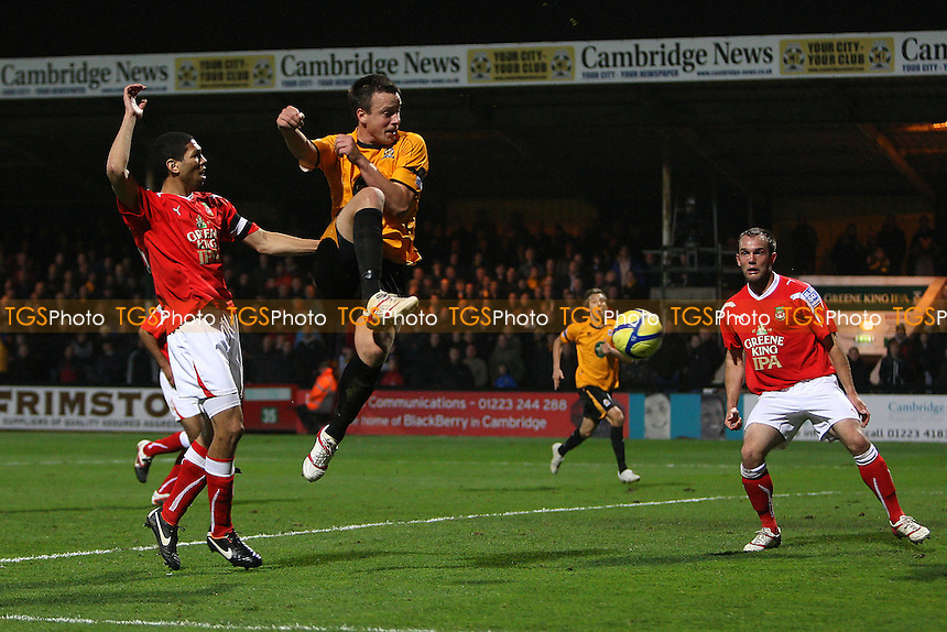 Josh Coulson of Cambridge United scores the second goal for his team - Cambridge United vs Wrexham - FA Cup 1st Round Football at The R Costings Abbey Stadium, Cambridge - 11/11/11 - MANDATORY CREDIT: Gavin Ellis/TGSPHOTO - Self billing applies where appropriate - 0845 094 6026 - contact@tgsphoto.co.uk - NO UNPAID USE.