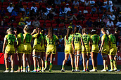 3rd February 2019, Spotless Stadium, Sydney, Australia; HSBC Sydney Rugby Sevens; New Zealand versus Australia; Womens Final; Australia prepare for the national anthem