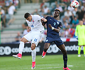June 19th 2017, Kielce, Poland; UEFA European U-21 football championships, England versus Slovakia; Tammy Abraham (ENG) challenged by Robert Mazan (SLO)