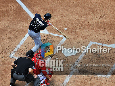 22 June 2014: Atlanta Braves shortstop Andrelton Simmons in action against the Washington Nationals at Nationals Park in Washington, DC. The Nationals defeated the Braves 4-1 to split their 4-game series and take sole possession of first place in the NL East. Mandatory Credit: Ed Wolfstein Photo