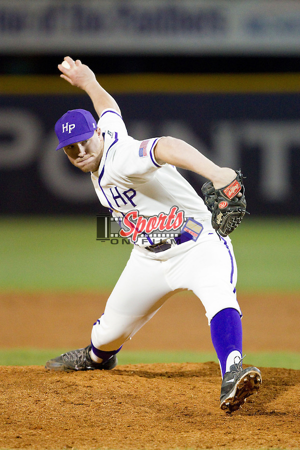 High Point Panthers relief pitcher John Maloney (30) in action against the Coastal Carolina Chanticleers at Willard Stadium on March 15, 2014 in High Point, North Carolina.  (Brian Westerholt/Sports On Film)