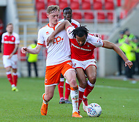 Blackpool's Sean Longstaff battles with Rotherham United's Michael Ihiekwe<br /> <br /> Photographer Alex Dodd/CameraSport<br /> <br /> The EFL Sky Bet League One - Rotherham United v Blackpool - Saturday 5th May 2018 - New York Stadium - Rotherham<br /> <br /> World Copyright &copy; 2018 CameraSport. All rights reserved. 43 Linden Ave. Countesthorpe. Leicester. England. LE8 5PG - Tel: +44 (0) 116 277 4147 - admin@camerasport.com - www.camerasport.com