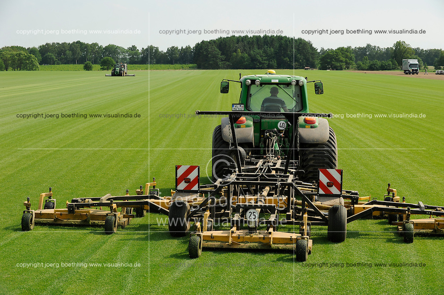 DEUTSCHLAND, Matthies Landwirtschaft in Wenzendorf, Anbau von Rollrasen fuer Gaerten, Stadien, Sportstaetten, Parks etc., Rasenmaehmaschine mit John Deere Traktor / <br />