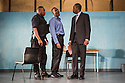 London, UK. 02.04.2014. Theatre Royal Stratford East presents Roy Williams' KINGSTON 14. Picture shows: Franklin Nwaokolo, Charles Venn and Derek Elroy. Photograph © Jane Hobson.